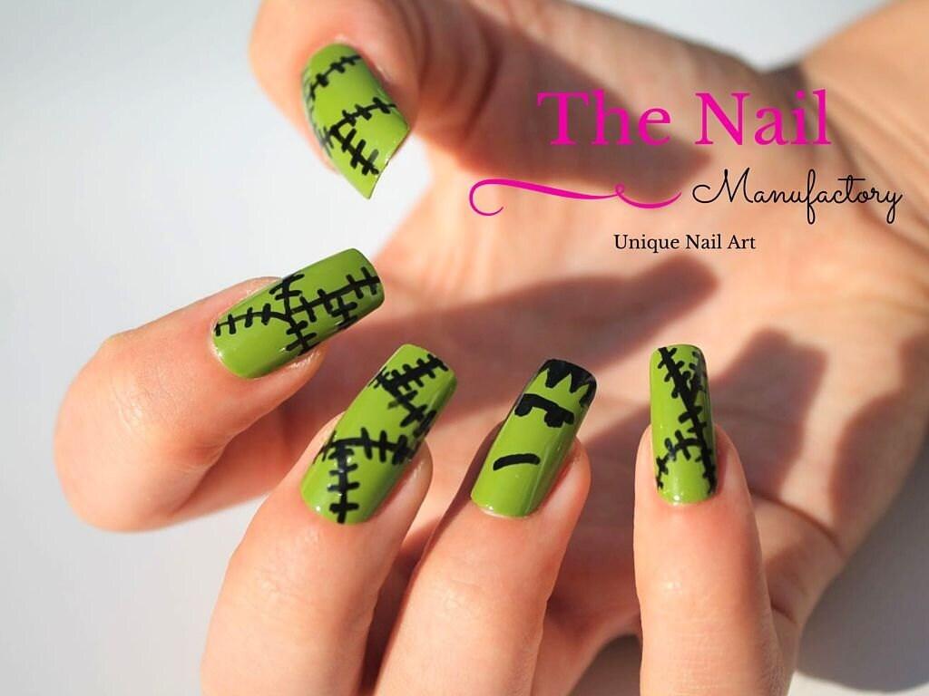 Green Monster False Nails - Halloween Fake Nails - Square Shaped ...