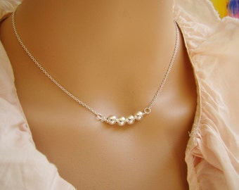 Silver Bead Necklace, 925 Sterling Silver Jewelry, Bridesmaid Necklace, Modern Minimalistic Jewelry, Gift Idea For Her Under 25