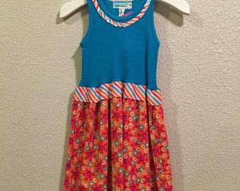 Size 2T, 4 - Orange Daisy Tank TShirt Dress