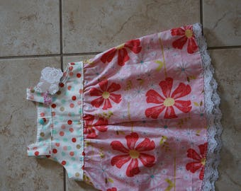 Going out of Business SALE, Dress girls size 6-12 months, pink flowers snap back dress, ready to ship