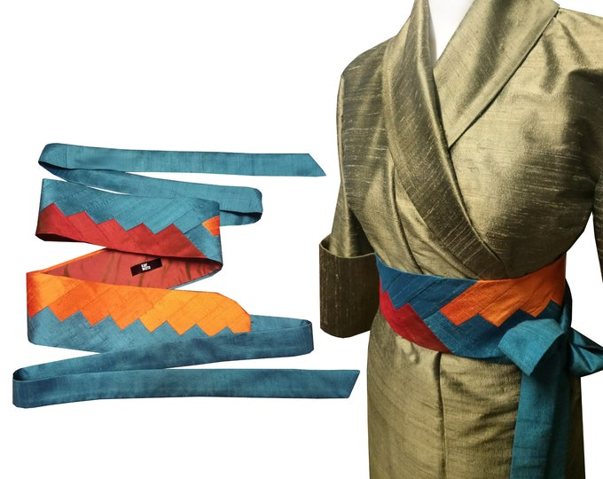 Obi belt sash INTARSIA silk shantung SUNSET MOOD