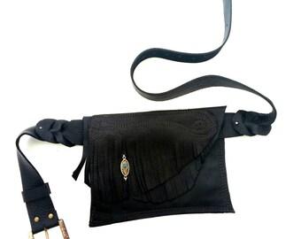 Leather Fringe Belt Bag - Shi Pocket Belts - One of a Kind