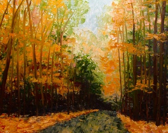 80% Off Sale Autumn Road, Original Impressionist Fine Art Oil Painting, Fall Landscape Painting