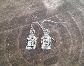 Buddha Earrings - Tibetan Silver - Lightweight Dangle Earrings
