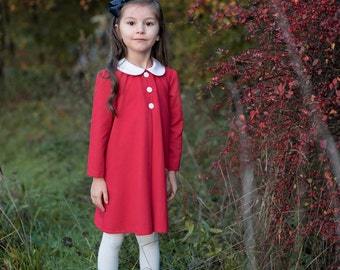 Madeline dress in red with white peter pan collar size 2t- girls 10 Holiday Dress Red Toddler dress