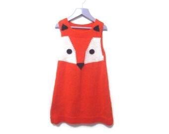 Fox girl dress - Fantastic Mr Fox party dress - Knitted fox dress - Organic cotton