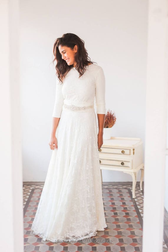 Lace wedding dress with sleeves champagne wedding dress