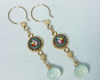 Antique Micro Mosaic, Faceted Green Prehnite Earrings, 14K Gold Filled, Grand Tour Souvenir Jewelry, Italy