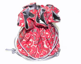 Jewelry Drawstring Travel Bag - Organizer Pouch - Red and grey  geometric pattern - Mothers Day gift idea