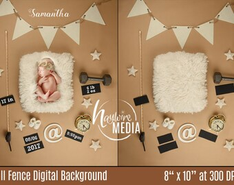 Newborn, Baby, Toddler, Child, Birth Announcment Photography Digital Backdrop Prop for Photographers - Birth Height, Weight & Time Template