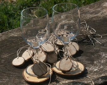 Rustic Wedding-Wine Glass Tags Slices 60 Tags  DRIED-Seasoned Wood Blanks- Woodland Weddings- Approx 1 inch in Dia Name Tags-Wedding Decor