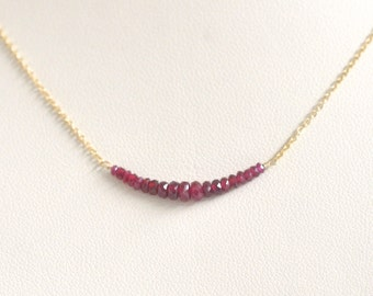 Genuine Ruby Necklace- Gold Filled Necklace- Natural Ruby July Birthstone- Red Gemstone Necklace- Delicate Dainty Necklace- Lightweight