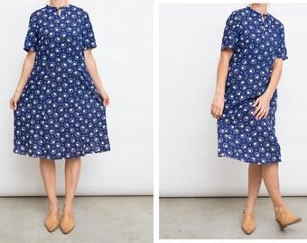 90s Blue Vintage Cotton Summer Dress / Vintage Short Sleeves Cotton Resort Dress / Size Medium M Dress / Modest Fashion