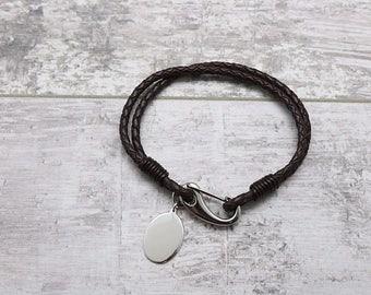 Bracelets For Men- Engraved Bracelet- Men's Leather Bracelet- Personalized Bracelet (Engraving Included)