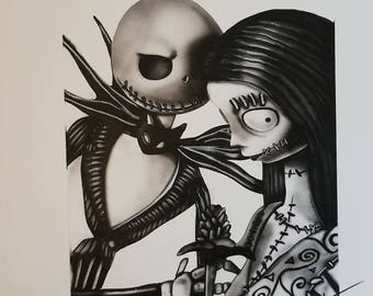 Jack and Sally the Nightmare before Christmas airbrush