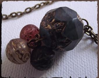 4 Antique Bronze chain decor glass beads pendant NECKLACE
