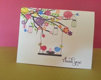 Baby shower thank you cards Garden Birds Nest (set of 10)