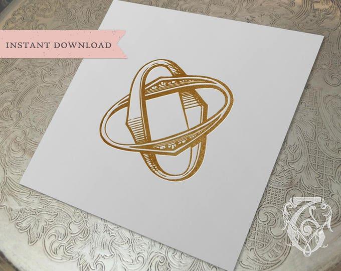 Vintage Wedding Monogram OO Digital Download double O