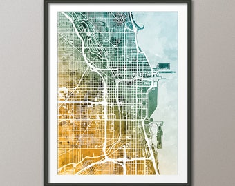 Chicago Map, Chicago Illinois City Street Map, Art Print (3003)