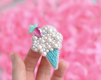 Strawberry Ice Cream Brooch Cake Pin Brooch Back Pack Badge Gift for Confectioner