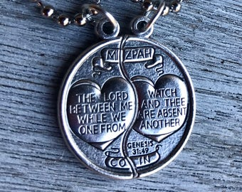 Mizpah necklace etsy mizpah medal coin necklace set for him and her genesis 3149 two aloadofball Image collections