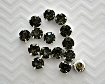 8mm Sew On Gray Rhinestones. Gray Glass Buttons. Grey Crystals. 10 Pieces.