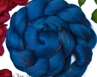 TALISMAN - Signature Custom Blend Black Merino and Recycled Sari Silk Combed Top Wool Roving for Spinning or Felting - 4 oz