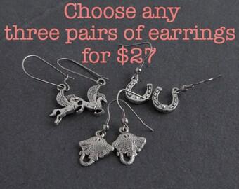 Earrings Package Deal, Choose Any Three Pairs of Earrings
