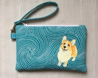 Welsh Corgi Wristlet Pouch, Dog Pouch, Dog Gift, Corgi Lover Gift, Padded Purse, Dog Lover Gift, Dog Birthday Gift, Gift For Her