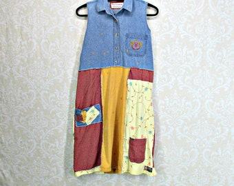 Womens M L, Eco Clothing, Upcycled Clothing, Denim Dress, Gypsy Dress, Boho Dress, Artsy, Romantic, Patchwork, Shabby Chic, Tunic