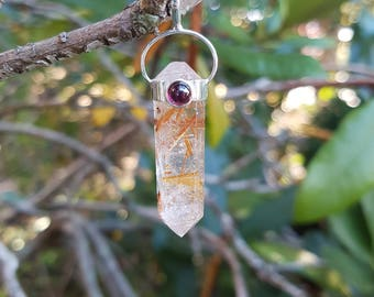 WOW!!! Amazing Rutilated Quartz Double Terminated Point Pendant - With Garnet