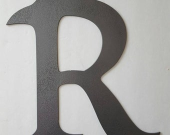 Letter R Metal Home Decor. Painted Hammer Gray. Home, Office Decor.  Wedding Decor. Housewarming or Birthday Gift!  Ready to Ship!