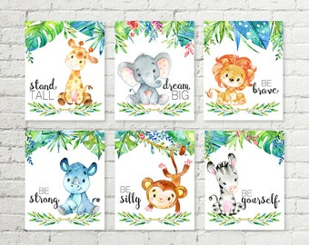 Jungle Safari Nursery Print with Sayings Giraffe, Elephant, Lion, Rhino, Monkey, Zebra Animals Printable Wall Art Baby Shower Gift Set of 6