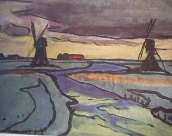 Windmills in the Marsh by Emil Nolde- Fine Art Book Plate - art ephemera gift for art lovers modern art expressionism print or framed