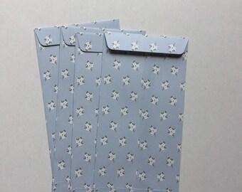Set of 4 paper gift bags, envelopes blue flowers, fancy packaging