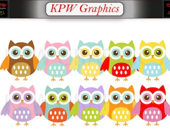 Colorful Rainbow Cute Owls Clipart Set in a PNG format. Personal & Small Commercial use (027)