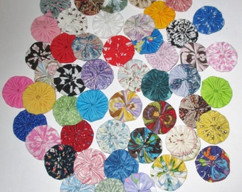 "Fabric YoYos, 50 Multi Color Miniatures, Prints And Solids,  1-1/2"" Size, Embellishments, Appliques"
