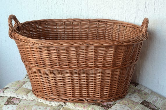 Large Wicker Laundry Basket Big Laundry Basket Handled Oval