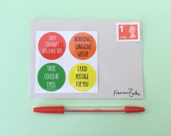 Funny Alternative Snail Mail Stickers Envelope Seals | Red, Orange, Green, Yellow | Letter Postcard Happy Mail Packaging Rainbow Stickers