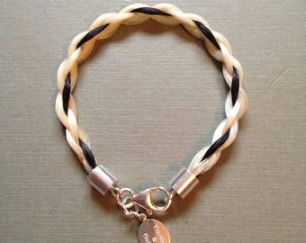 Horse hair bracelet with Sterling silver fittings. ** plus free Keyring