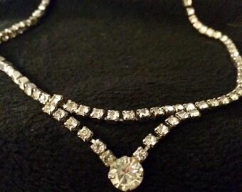 Hollywood Glam Style Vintage Rhinestone Necklace Choker