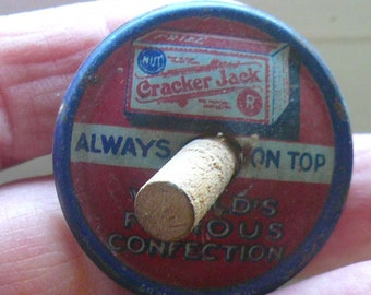 Tin Lithograph Collectible Toy Cracker Jack Prizes Spinning Top Free Shipping by VintageReinvented