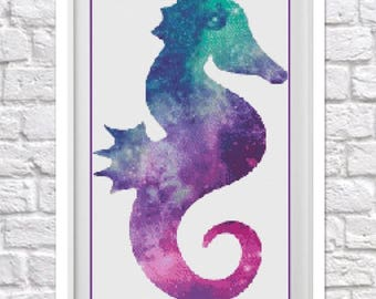 Galaxy Seahorse Counted Cross Stitch Pattern