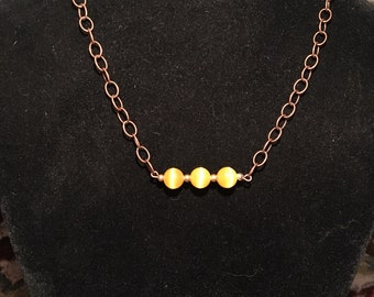 """16"""" yellow cat's eye chain necklace"""