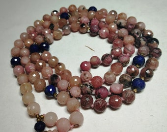 Natural Rhodonite 108 Faceted Cut Round Balls Strand  7mm Hand Knotted Necklace  Meditation Prayer Yoga Mala