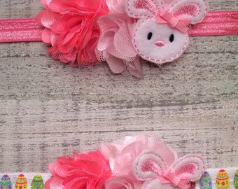 READY TO SHIP Pink Easter Bunny Headband.  Baby's First Easter.