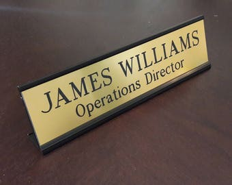 "Engraved Name Plate with Black Desk Holder 2"" x 8"", Custom Name Plate for Desk, Personalized Desk Plate, Office Desk Plate, Desk Sign"