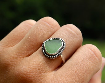 Green Seaglass Boho Ring; Sterling Silver; Size 6 1/2