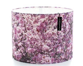 Drum Lamp Shade - Pink Cherry Blossom. Purple floral lampshade spring flowers bloom blossom pink flower shade decor.