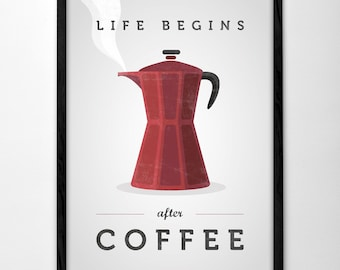 Life begins after coffee print coffee poster red Kitchen wall art Retro print vintage kitchen print typography print red kitchen print
